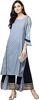 Ishin Women Blue & Navy Blue Viscose Rayon Printed Palazzo Kurta Set