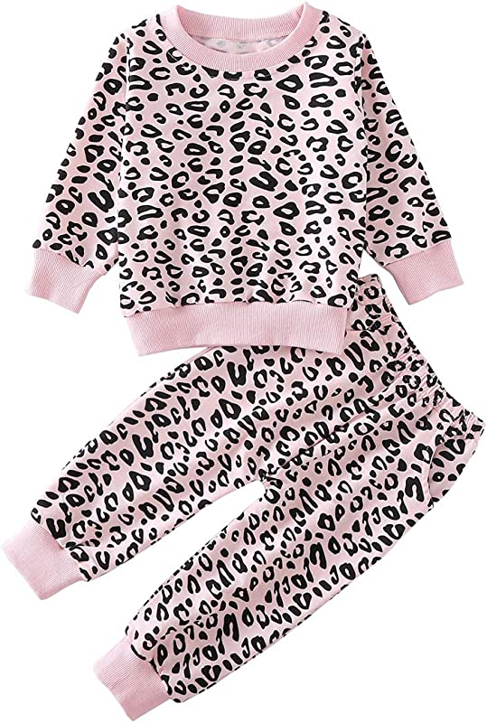 Toddler Baby Girls Leopard Print Summer Clothes Set T Shirt And Short Pants 2pcs Outfits