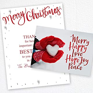 Red Mittens Heart Holiday Christmas Card - Set of 25 cards, 5'' x 7'' folded. Verse inside. Made in the USA. Blank white envelopes