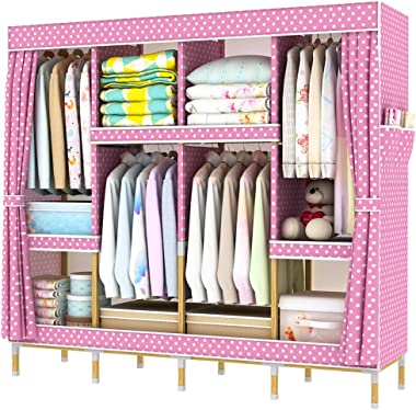 HHAiNi Portable Wooden Wardrobe Closets for Bedroom, Super Large Family Sold Wood Closet Organization, Fully-Enclosed Reinfor