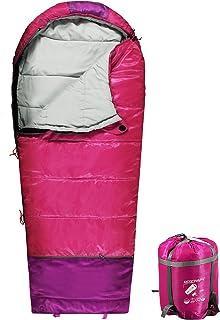 کیسه خواب کودکان REDCAMP برای کمپینگ ، 32-77 درجه 3 فصل گرم و هوای سرد پسران ، دختران و نوجوانان آبی / قرمز قرمز