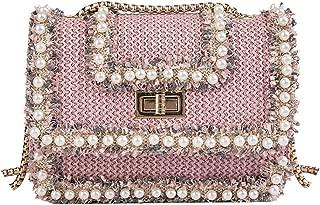 Vintage Women Woven Pearl Shoulder Bag Lace Flower Messenger Bag Crossbody Bag Holiday Boho Beach Mini Bag Chain
