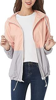Aliamz Women's Plus Size Raincoat Rain Jacket with Lined Hooded Waterproof Jacket Coat Windbreaker Rainwear 16-24W