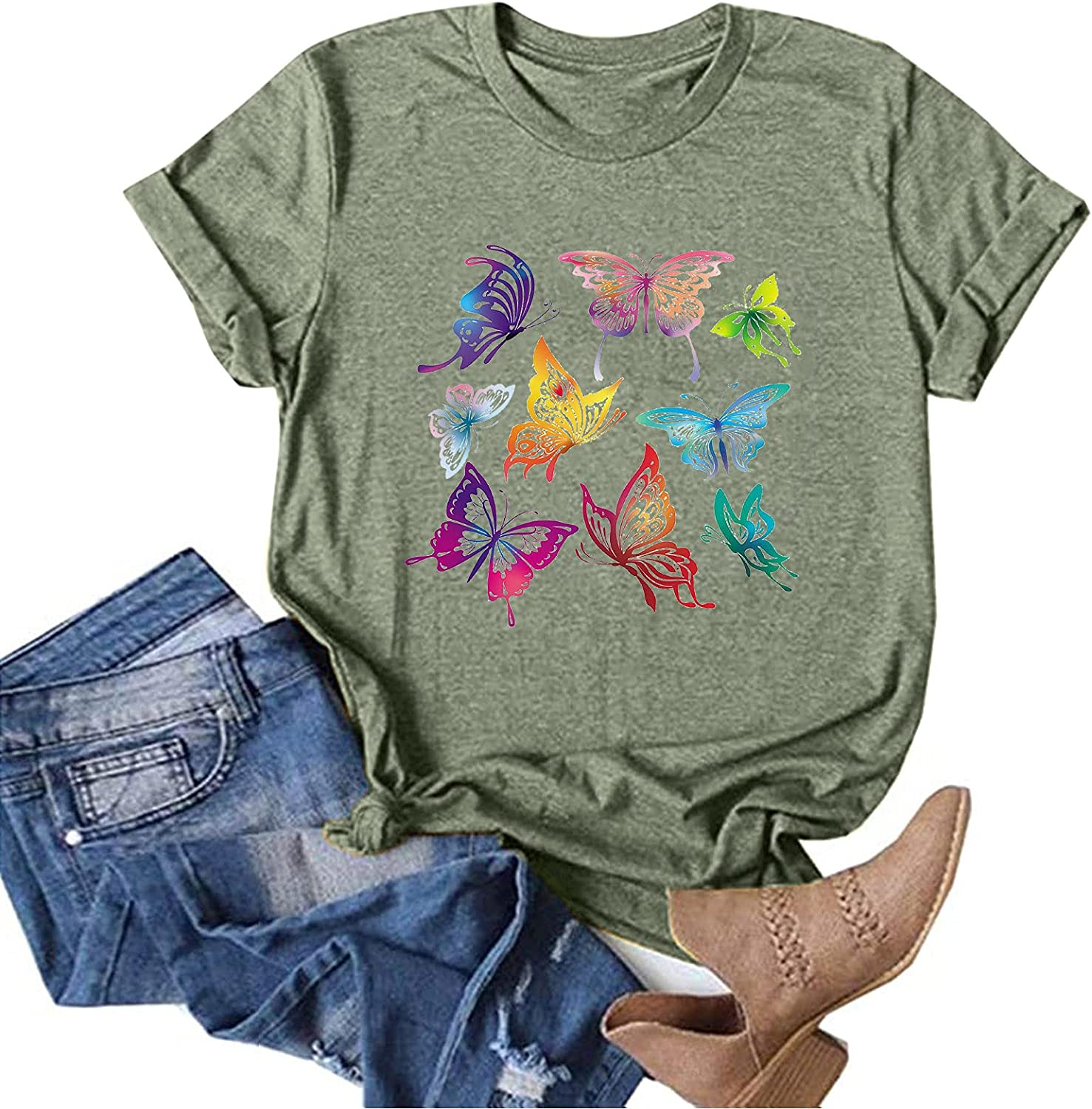 Blouses for Women Business Casual, Women's Plus Size Printed T-Shirt Casual Short-Sleeved Top