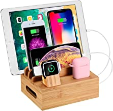 WXTOOLS Bamboo Wood Desk Organizer for Multiple Devices, Charging Stations Accessories Docking Cradle Holder Compatible Cell Phone/AirPods/Apple Watch/Tablets