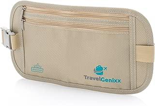 Travel Money Belt and RFID-Blocking Passport Holder   Super Slim Concealed Waist Pack for Men and Women (Beige   Nude)
