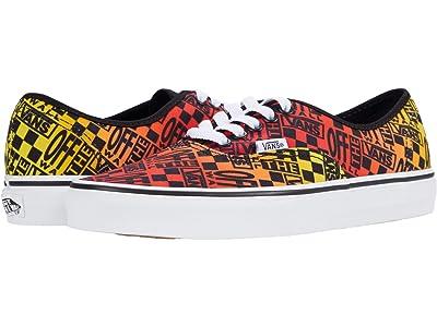 Vans Authentic ((Logo Flame) Black/True White) Skate Shoes