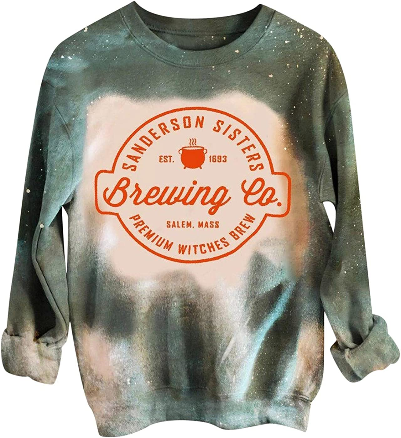 AODONG Halloween Sweaters for Women Rainbow Tie Dye Long Sleeves Sweatshirts Loose Pullover Tops