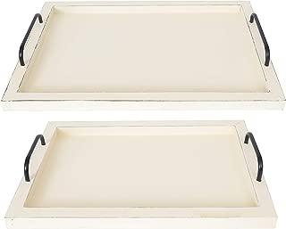 Besti Rustic Vintage Food Traing Trays (Juego de 2) | Tablero de madera de anidamiento con asas | Elegantes platos de decoración de granja para servir | Grande: 15 x2 x11