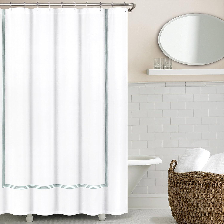 Echelon Home Hotel Collection Silver bluee Echelon Three Line Shower Curtain,
