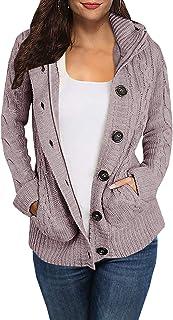 Hestenve Womens Chunky Hoodies Cardigan Sweater Button Down Jumper Coat Pocket