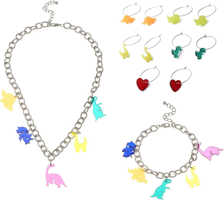 Harajuku Cute Acrylic Dinosaur Pendant Tassel Necklace Bracelets Earrings Set Funny Colorful Cartoon Resin Animal Choker Necklaces Handmade Triceratops Earrings for Women Girls Jewelry
