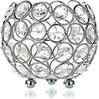 OwnMy Crystal Bowl Votive Candleholder Sparkly Tea Light Candle Holders Candle Lanterns Decorative Candelabra Vase for Christmas New Year Wedding Table Centerpieces (10CM Silver Tone)