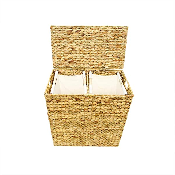Trademark Innovations Wicker Divided Laundry Hamper Clothes Basket With Lid