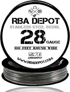 [RBA DEPOT] Stainless Steel Wire AWG Premium SS316L (28 Gauge Stainless Steel, 100 Feet)