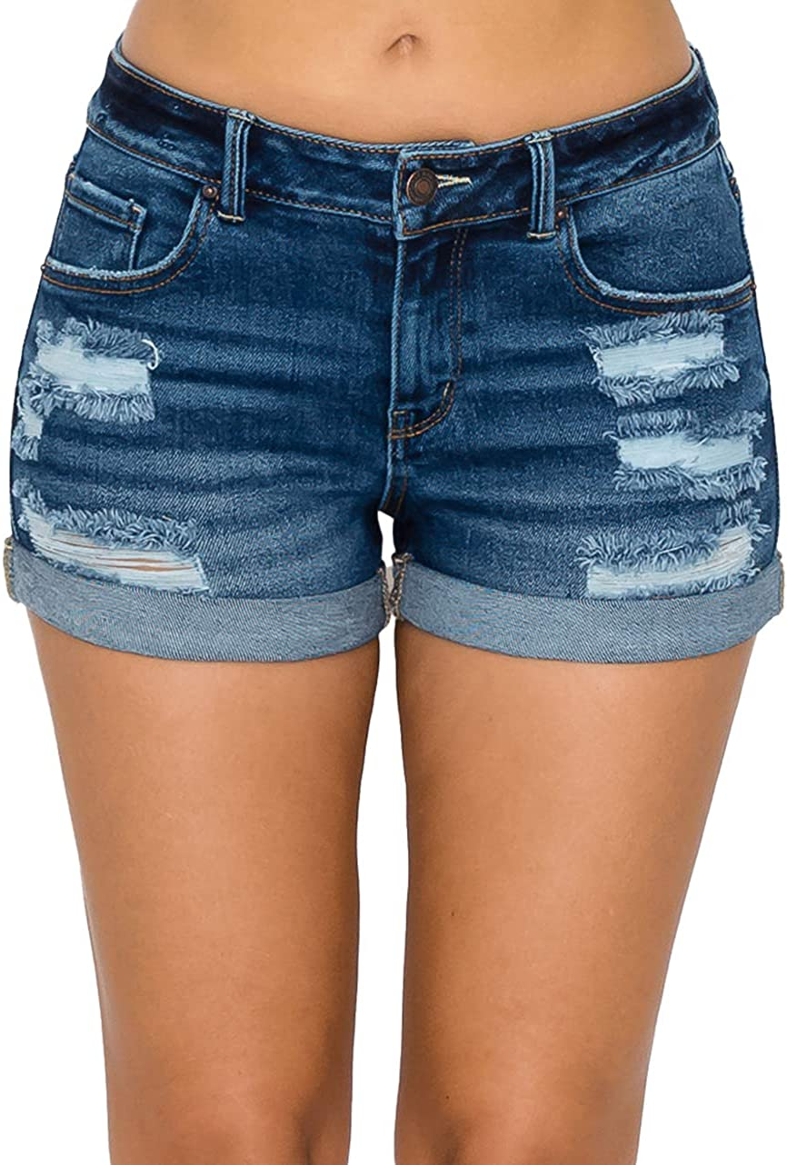 Wax Jean Collection High Waisted Cuffed Distressed Denim Shorts