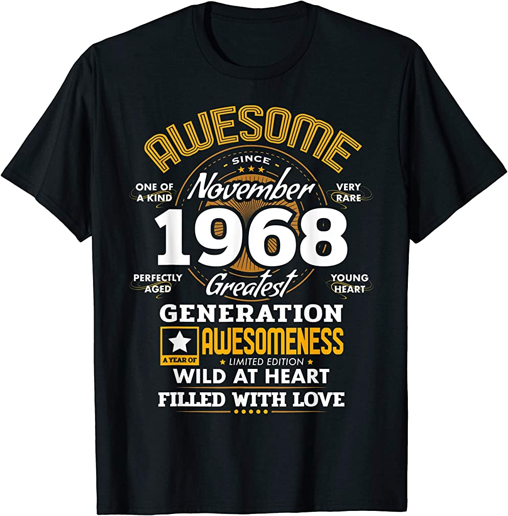 Awesome Since November 1968 51 Year Old Birthday Gifts T-shirt