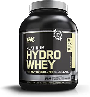 Optimum Nutrition Platinum Hydrowhey Protein Powder, 100% Hydrolyzed Whey Protein Isolate Powder, Flavor: Velocity Vanill...