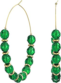 Faceted Emerald with Gold/Large Hoop Wire Earrings
