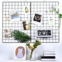Pulatree Grid Photo Wall(Set of 2), Grid Wall Decorative Iron Rack Clip Photograph Wall Hanging Picture Wall, Ins Art Disp...