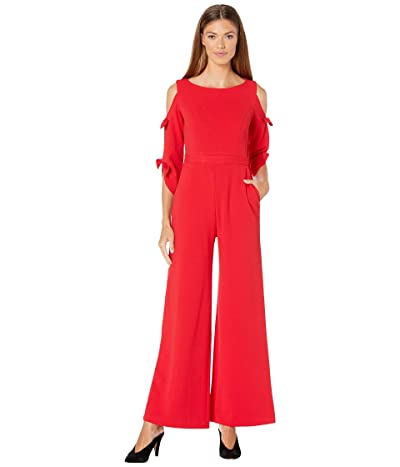 Donna Morgan Long Tie Sleeve Wide Leg Jumpsuit (Red/Red) Women