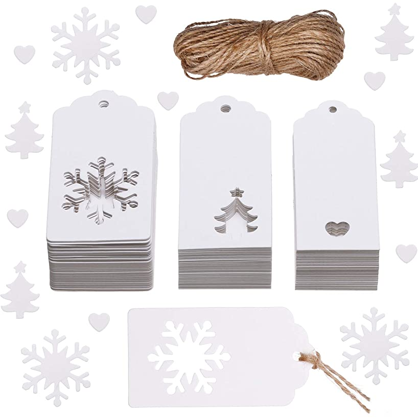 Leinuosen 150 Pieces Christmas Gift Tags Kraft Gift Tags Snowflake, Heart and Christmas Trees Shapes with 20 Meters Twine for DIY Arts and Crafts, Christmas and Holiday (White)