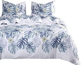Wake In Cloud - Tree Leaves Comforter Set, 100% Cotton Fabric with Soft Microfiber Fill Bedding, Monstera Plant Leaves Pattern Printed on White (3pcs, Queen Size)