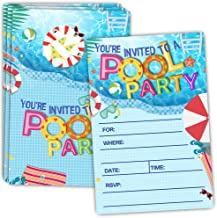 30 Pool Party Invitations with Envelopes - Double Sided - Birthday Invitations for Boys or Girls - Birthday Pool Party Supplies - Family BBQ Cookout Fill in Invites