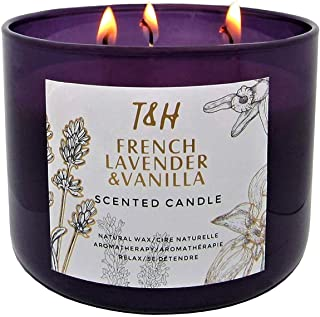 T&H French Lavender & Vanilla Candle Aromatherapy Relaxation Handmade Pure Soy Wax 3-Wick 80 Hour Burn 16 O...