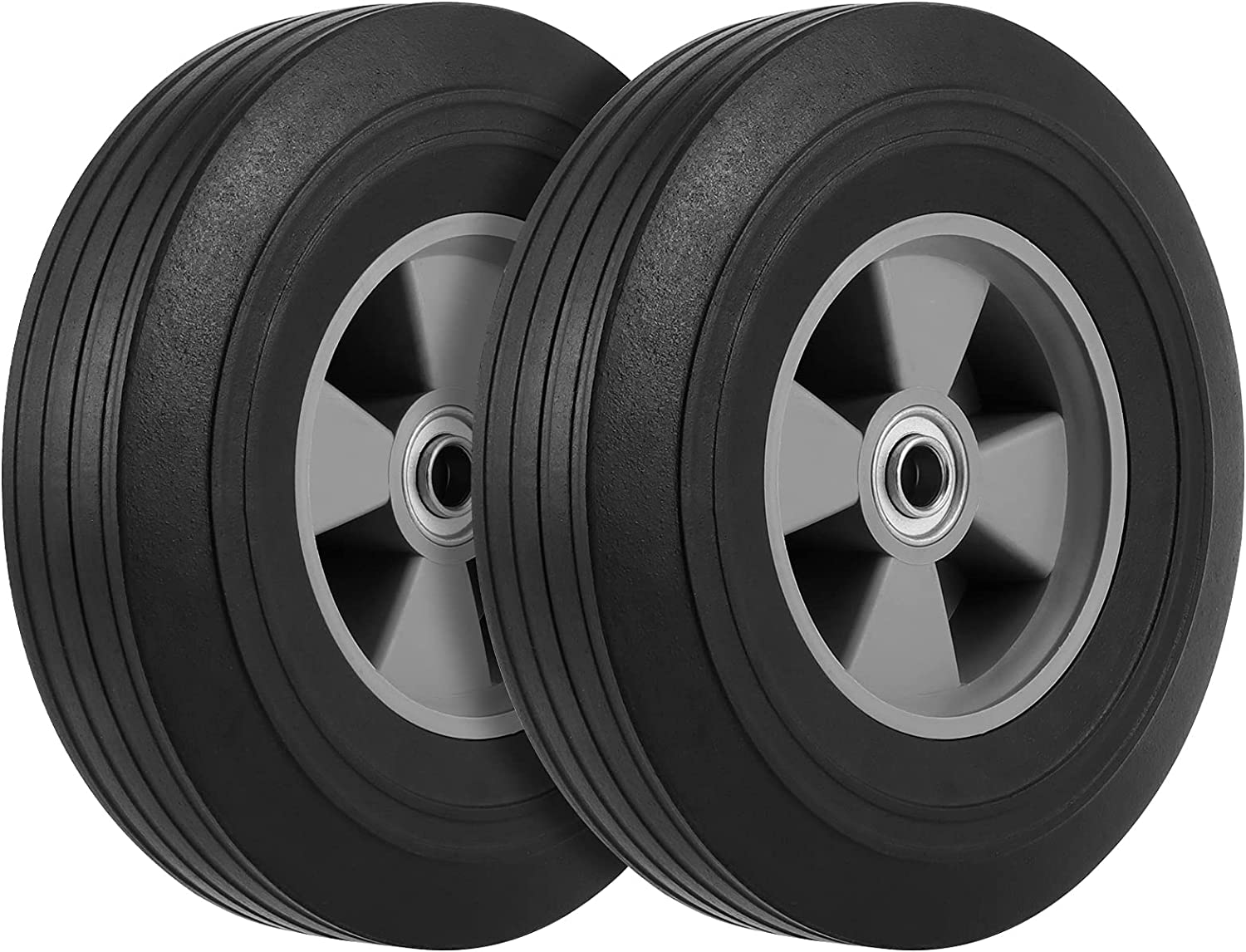 WONGWAI 2 Pack 10 Inch Solid Rubber Wheelbarrow Tire, 5/8 Inch Axle Size Hand Truck Wheels Replacement Tires for Hose Cart, Garden Cart, Dolly Cart, 330 lb Load Capacity