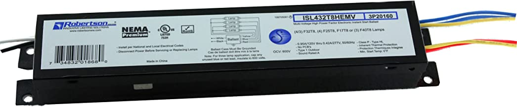 Robertson Worldwide ISL432T8HEMV AH 3P20160 120-277 Vac 50-60 Hz Normal Ballast Factor HPF Fluorescent eBallast for 4 F32T8 Linear Lamps