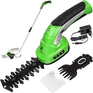 comprar comparacion TecTake 401542 Cortabordes y cortasetos con mango telescópico, cargador, dos cuchillas 7,2 V batería Ión de litio