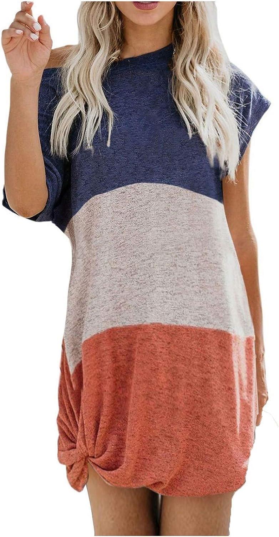 JPLZi Women's Round Neck Casual Short Sleeve Knee Length Knot Twist Loungewear Dress Color Block Summer Casual Dresses