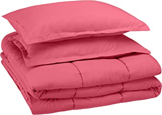 AmazonBasics Easy-Wash Microfiber Kid's Comforter and Pillow Sham Set - Full or Queen, Hot Pink