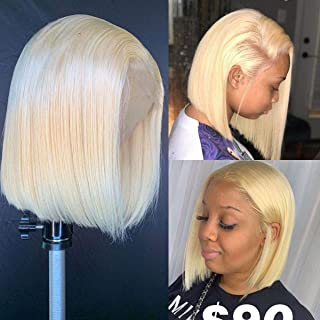 Intuition Hair Short Bob #613 Lace Front Wigs Human Hair Brazilian Virgin Hair Blonde Lace Front Wigs For Black Women Straight Pre Plucked Hairline 130% Density (10 inch, Lace Front Wig)