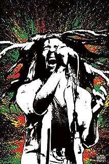Pyramid America Bob Marley Singing Neon Paint Splash Music Cool Wall Decor Art Print Poster 24x36
