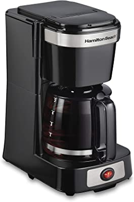 Hamilton Beach 46110 5 Cup Compact Drip Coffee Maker, Works with Smart Plugs, Glass Carafe, On/Off Switch, Black