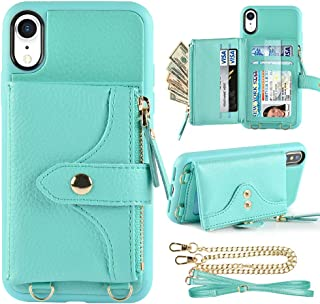 LAMEEKU Wallet Case Compatible with iPhone XR, iPhone XR Wallet Case Zipper Case with Wrist Chain Crossbody Strap Card Holder Leather Case for iPhone XR, 6.1 inches-Green