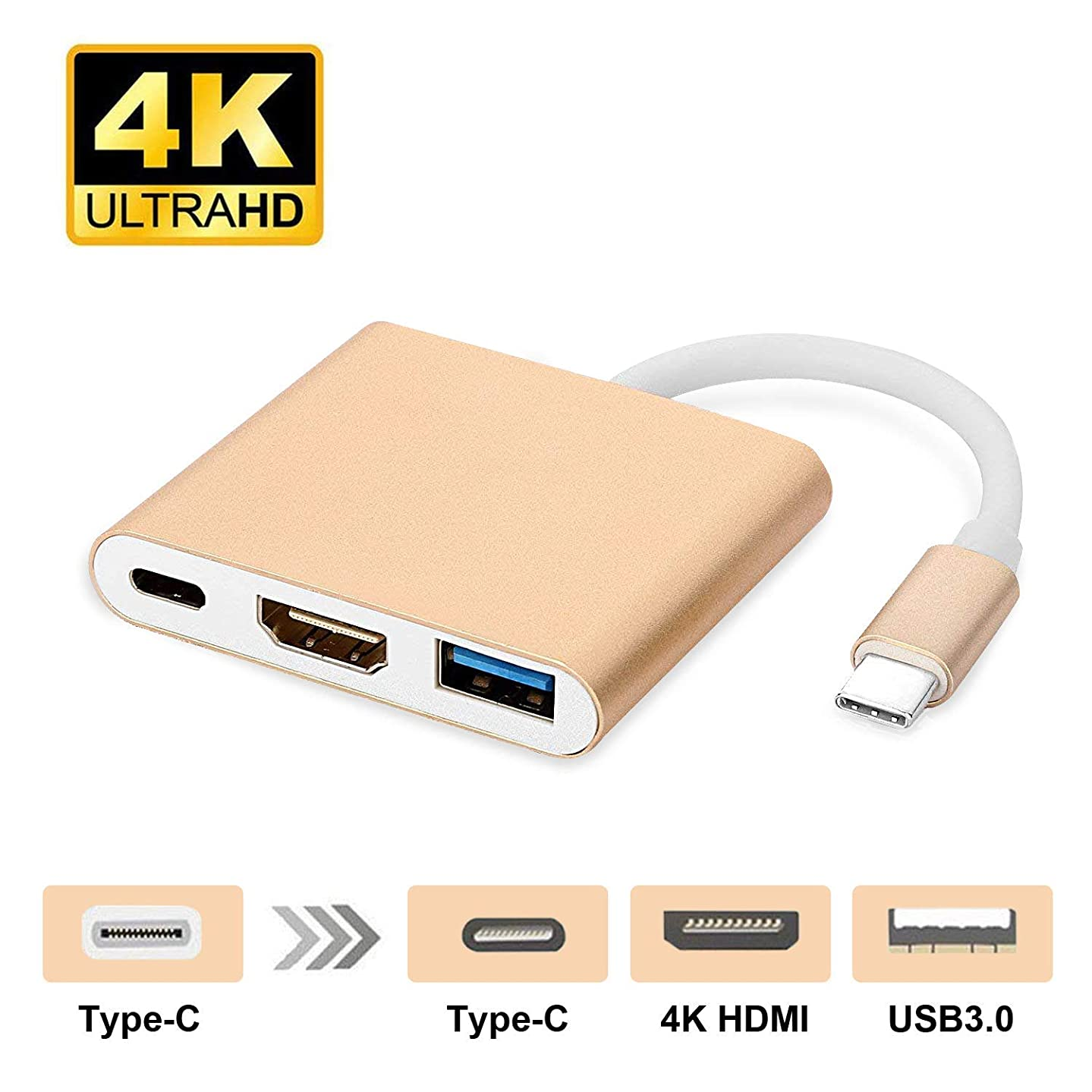 Sudroid USB Type C to HDMI Adapter 4K - USB 3.0 Type C Multiport AV Adapter Converter for MacBook, Chromebook Pixel Devices and More USB C Devices to HDTV/Projector (Gold)