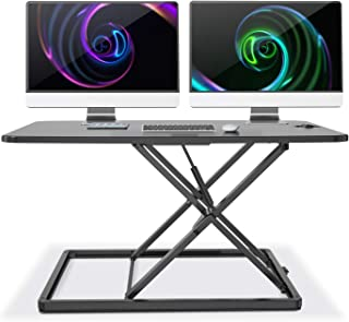 LENTION No Assembly Required Height Adjustable Riser Converter Standing Desk Comply with Sit to Stand Ergonomic Principle with 31'' Wide Tabletop Workstation fits Dual Monitors - Classic Black