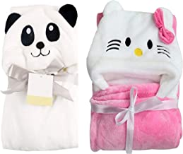 MY NEWBORN Blanket Wrappers for Babies Pink Katty and White Panda-Combo of 2 Pieces