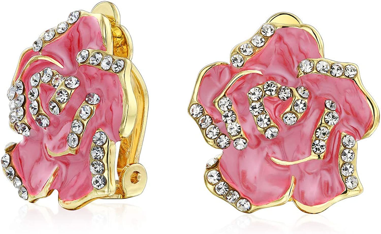 Red Enamel Flower Crystal Edge Spring Retro Floral Rose Clip On Earrings For Women Non Pierced Ears 14K Gold Plated