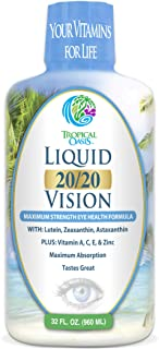 Liquid 20/20 Vision - Eye Vitamin Formula w/20mg Lutein, 4mg Zeaxanthin, 4mg Astaxanthin for Vision Support –Max Absorptio...
