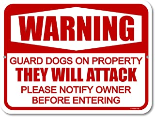 Honey Dew Gifts Dog Sign, Warning Guard Dogs on Property 9 inch by 12 inch Metal Aluminum Beware of Dog Signs for Fence, M...