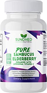 Sundhed Natural - Original Extra Strong Pure Sambucus Elderberry Supplement Capsule with Liposomal Vitamin C and Zinc for ...