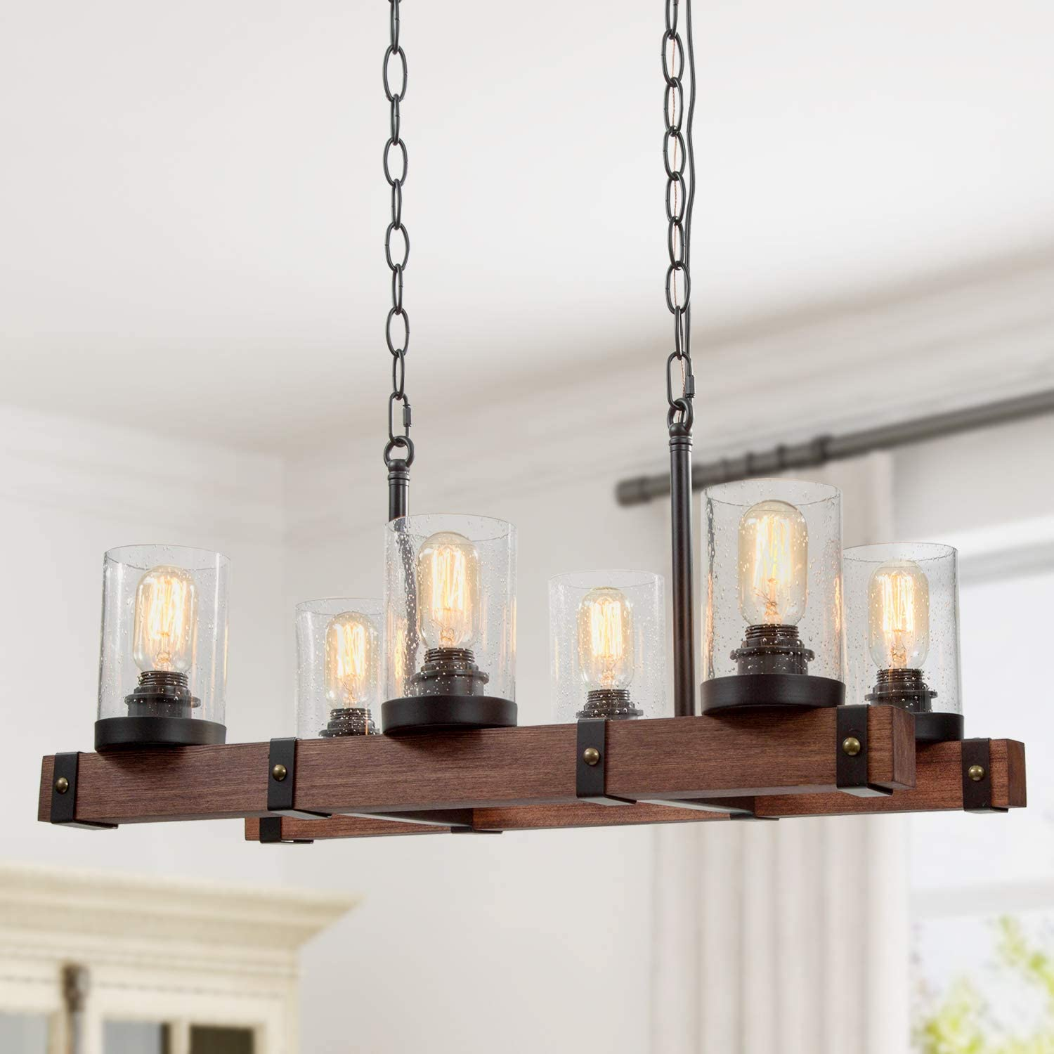 shopping RUZINIU Farmhouse Chandelier for Dining I Rooms Price reduction 6-Light Kitchen