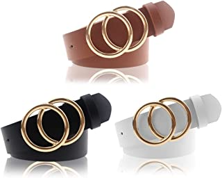 Women's PU Leather Belt Double O Ring Soft Faux Leather Waist Belt