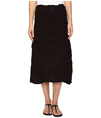 XCVI Stretch Poplin Double Shirred Panel Skirt (Black) Women