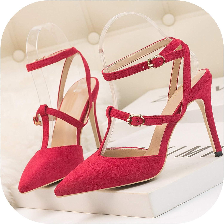 10cm Heels Women Sandals Pumps Minimalist Stiletto high-Heeled Shallow,