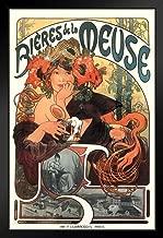 Alphonse Mucha Bieres De La Meuse Art Print Art Nouveau Vintage Beer Advertisement French France 1897 Poppies Wheat Hops Summer Seasons Black Wood Framed Art Poster 14x20